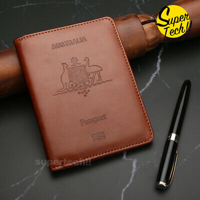 AU9.45 • Buy BrownTravel Secure Leather Passport RFID Card Ticket Money Wallet Holster Bag