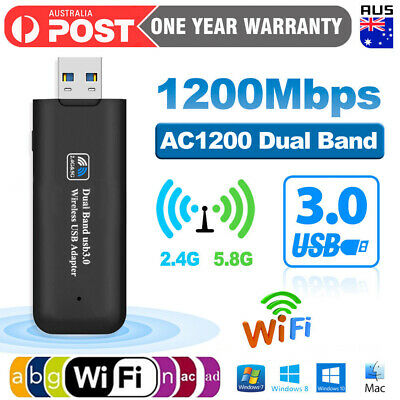 AU12.99 • Buy USB 3.0 Wireless 1200Mbps WiFi Network Receiver Adapter 5GHz Dual Band Dongle