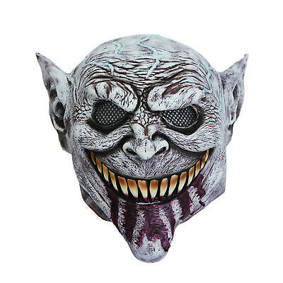 Mens Scary Goblin Mask Bloody Tongue Halloween Fancy Dress Costume Prop Monster • 9.99£
