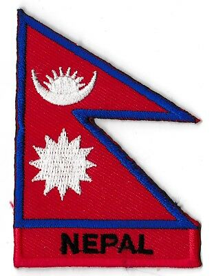 Badge Patch Nepal 70 X 45 MM Country Of World Flags / Banners Embroidered • 2.75£