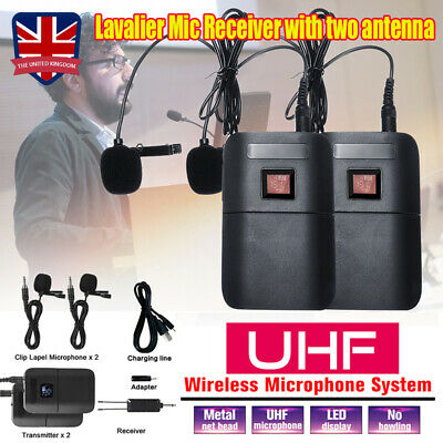 UHF Wireless Microphone Lavalier Lapel Mic Receiver Transmitter Dual Headset Set • 22.99£