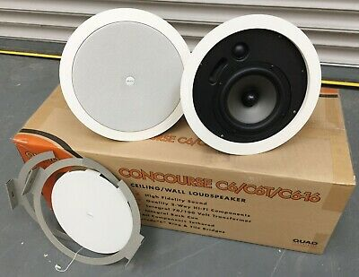 Pair Quad Concourse C6-16 Ceiling Speakers, High Performance, White, 50W RMS • 69.99£