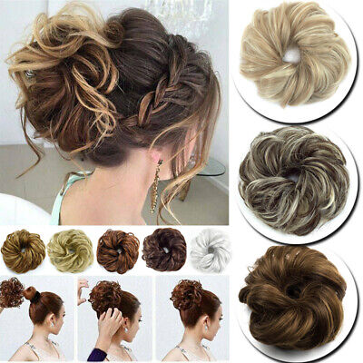 £3.99 • Buy UK Curly Messy Bun  Scrunchie Wave Hairpiece Updo Cover Ponytail Hair Extensions