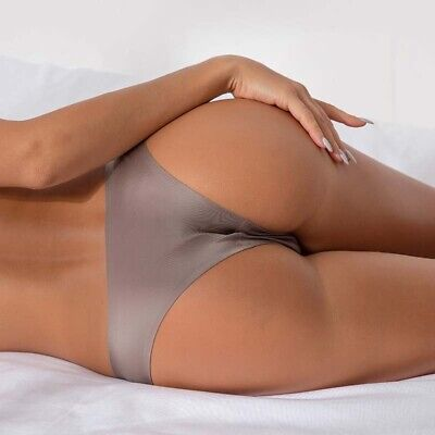 AU3.79 • Buy Women Ice Silk Thong Panties Sexy Briefs Seamless Solid Color Underwear G-String