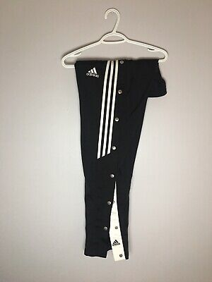 $ CDN15.99 • Buy Vtg Adidas 3 Stripe Black Button Snap Tear Away Nylong Track Pants (xl)