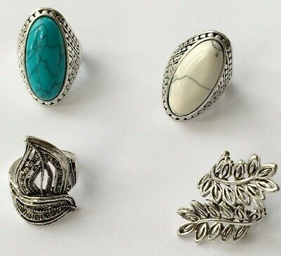 Ladies Large Silver Plated  Stone Imitation Costume Ring Party Gift • 4.59£