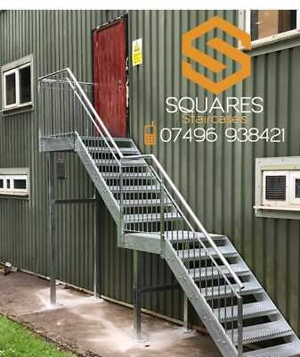 Steel Staircase- Metal Staircase Metal Fire Escape All Sizes Modular Flat Pack  • 1£