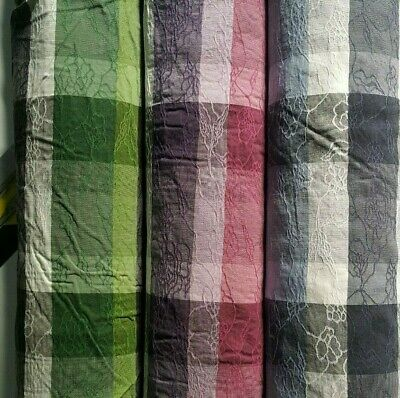 £4.22 • Buy Checked And Figured Stretch Fabric-3 Colours-sold By The Metre