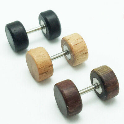 1 Pair Unisex Wood Steel Fake Cheater Ear Plugs Barbell Studs Earring Punk Funny • 6.92£