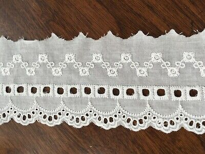 £3.19 • Buy Off White Cotton Embroidery Lace Fabric DIY  Material Width 8 Cm 1 Yard