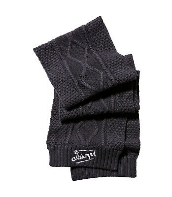 GENUINE TRIUMPH KNITTED SCARF In BLACK MSCA19319 TRIUMPH LOGO MOTORCYCLES SCARF • 26£