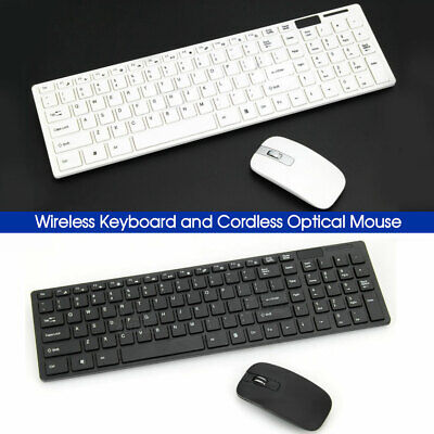AU25.99 • Buy Wireless Keyboard And Cordless Optical Mouse For PC Laptop Win7/8/10 B & W Slim