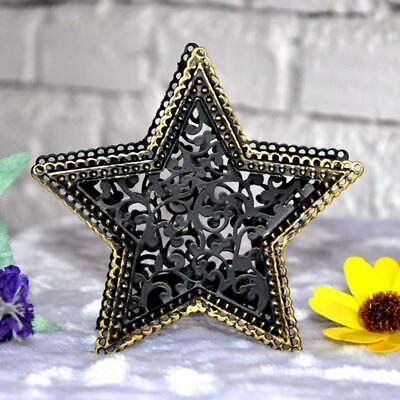 Retro Tabletop Pentagram Metal Light Hollow Candle Holder Candlestick Room Decor • 3.15$