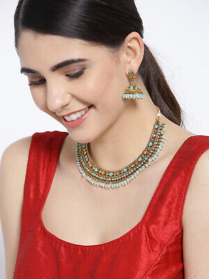 $26.98 • Buy Fashion Wedding Indian Bollywood Antique Gold Tone Necklace Earring Set Jewelry