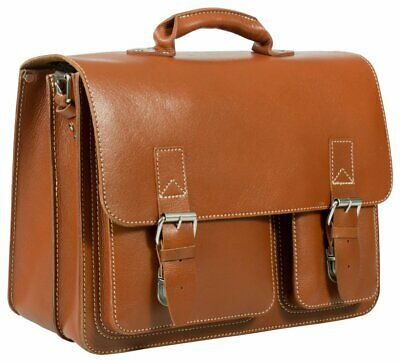 £139 • Buy Tan Leather Satchel Laptop Briefcase, Vintage Rugged Unlined Trendy Leather Bag