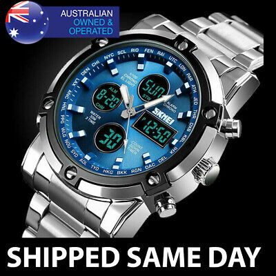 AU39.95 • Buy 389 MENS 30M WATERPROOF DUAL DIGITAL ANALOG SPORTS WATCH Water Resistant Gold 42