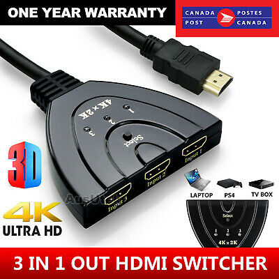 $ CDN8.95 • Buy 4K Ultra HD 3 Way HDMI Switch Box Splitter HDTV 1080P Auto 3 Port IN 1 OUT Cable
