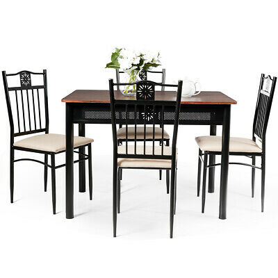5 Piece Dining Set Industrial Metal Table 4 Chairs Kitchen Breakfast Furniture • 149.95$