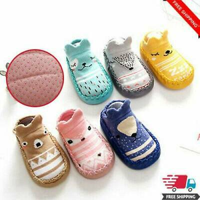 Cartoon Newborn Baby Kids Toddler Anti-Slip Socks Slipper Bell Home Shoes Boots • 1.70£