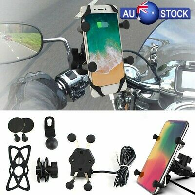 AU25.20 • Buy Universal Motorcycle Motorbike Phone Holder X-Grip Clamp Mount USB FAST Charge