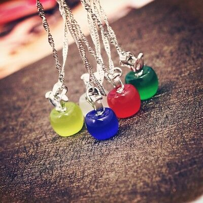 AU1 • Buy Lovely Apple Pendant Necklace Silver Color Chain Jewelry For Women Girls Gift