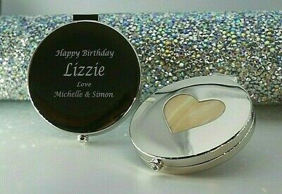 Personalised Engraved Compact Mirror Boxed With Velvet Pouch Birthday Xmas Gift • 9.99£