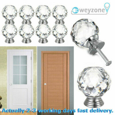 20pcs Crystal Diamond Door Knobs Transparent Glass Clear Cabinet Drawer Handle • 3.99£