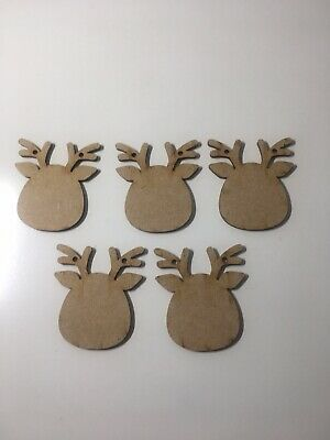 X5 Wooden Mdf Christmas Reindeer Head Craft Shapes Bunting/garlands/gift  • 3£