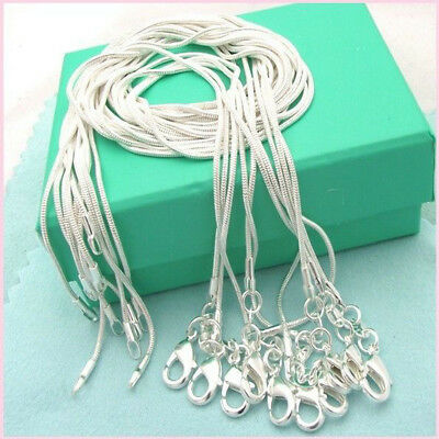 $ CDN4.93 • Buy Wholesale 925 Sterling Silver Lots 10pcs 1mm Snake Chains 16 -28  Xmas Necklace