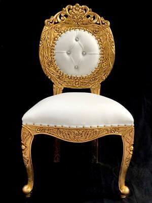 Avalon Wedding Ornate Chair Gold Leaf W White Faux Leather Crystals Carved Stage • 455£
