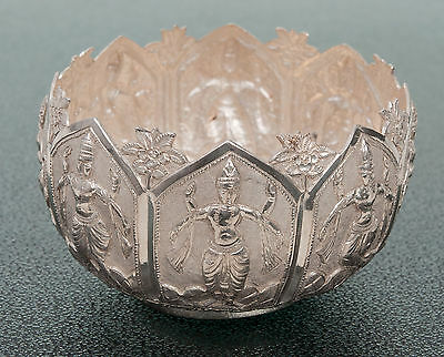 £185 • Buy Vintage Indian Silver Repousse Bowl With Dancing Characters And Textured Ground