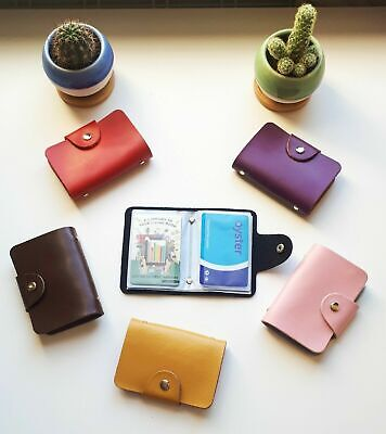 Real Leather Card Case Business ID Oyster Credit Card Holder Card Holder Wallet • 3.99£
