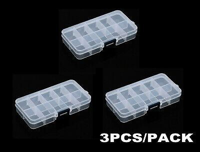 3X 10 Compartment Small Organiser Storage Plastic Box Craft Nail Art Fuse Beads  • 3.69£