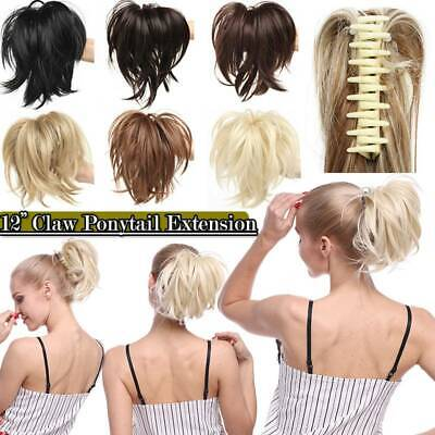 £10.93 • Buy 12' Short Ponytail Extension Claw On Natural As Human Hair Piece Thick Blonde UK