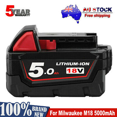 AU43.49 • Buy For Milwaukee M18 M18B5 Lithium XC 5.0AH Extended Capacity Battery 48-11-1852 AU