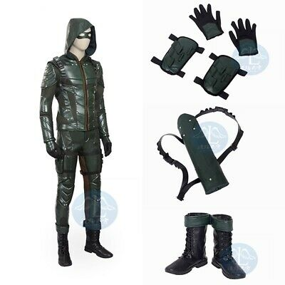 $ CDN30.88 • Buy Green Arrow 5 Cosplay Oliver Queen Costume Halloween Leather Outfits Custom Made