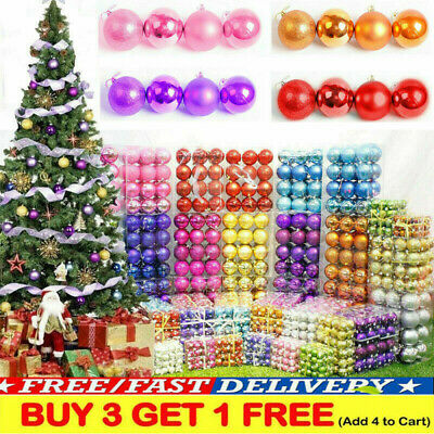 24pcs Glitter Christmas Baubles Xmas Tree Ornament Hanging Ball Decor 3cm DIY • 3.99£