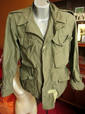 $244.65 • Buy Vintage 40s WWII M-1943 M-43 OD Green Cotton Field Jacket Sz 38 R SMALL