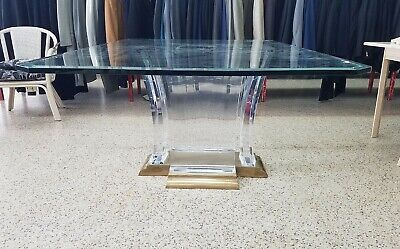 $3500 • Buy 70's SUPERB BRASS,  LUCITE & GLASS DINING TABLE