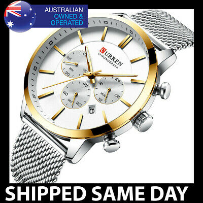 AU29.95 • Buy 340 CURREN MENS FASHION DRESS WATCH Gold Waterproof Water Resistant Silver 92