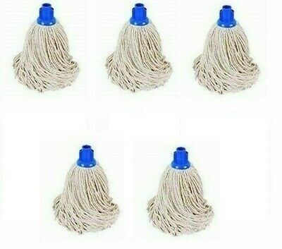 £12 • Buy Blue Plastic Socket 100% Cotton Mop Head Hotel Home & Industrial Use PACK OF 5