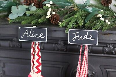 Chalkboard Personalised Stocking Holder - One Mantle Clip Hook Silver • 9.50£