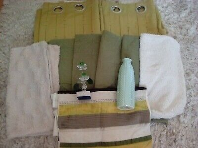 Bundle Of Apple Green Lined Curtains 44/72,6 Cushion Covers ,table Runner • 25£