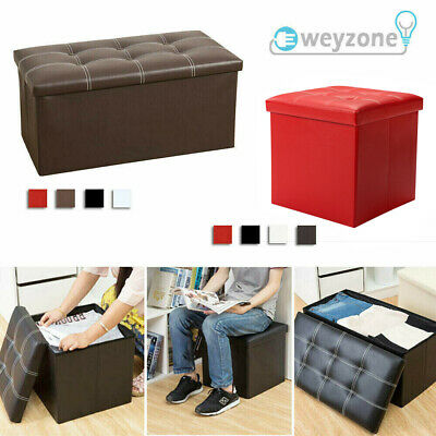 Faux Leather Ottoman Pouffe Large Storage Box Foot Stools 1&2 Seater Bench Seat • 18.95£