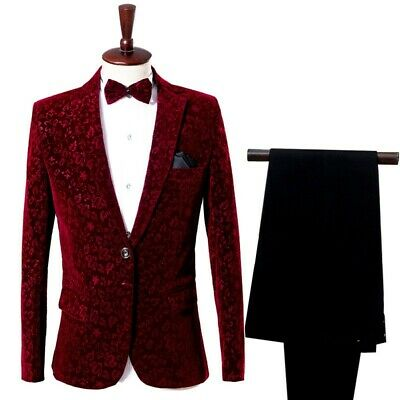 $ CDN140.01 • Buy Men Suit 2Pcs Velvet Lapel Tuxedo One Button Jacket Pants Groom Blazer Wedding
