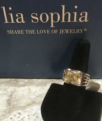 "$ CDN19.99 • Buy Lia Sophia ""Citron"" Silver Tone Ring W/Genuine CZ 16.2 Tw - Size 7"