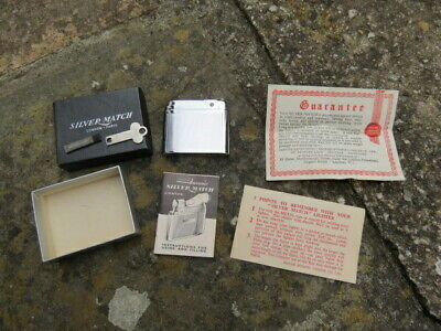 Vintage Boxed Silver Match Lighter And Paperwork • 32£