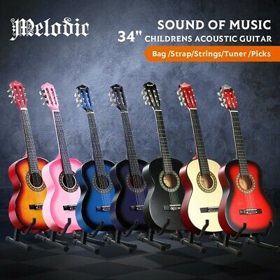 AU69.95 • Buy Melodic 34  Kids Guitar 1/2 Size Acoustic Guitar W/6 String Tuner For Beginner