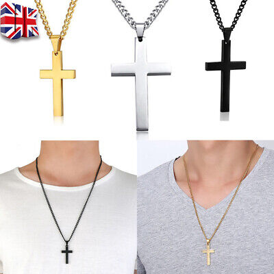 Cross Pendant Necklace Silver Stainless Steel Unisex's Chain Crucifix Men Boys C • 2.69£