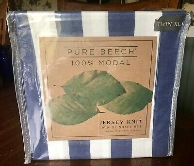 Pure Beech Navy Stripe TwinXL Sheet Set 100% Modal Jersey Knit Dorm New Semester • 30$
